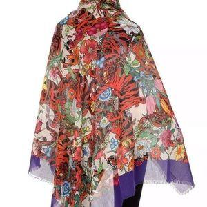 💜NEW GUCCI FLORA TIGER PRINT SCARF Purple